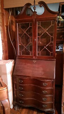 Antique 4 Drawer Drop-Front Secretary Cabinet Desk shelf with key VINTAGE ESTATE