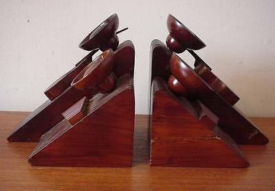 Modernist Mexican Heavy Hard Wood Bookends Abstract Geometric Art Deco