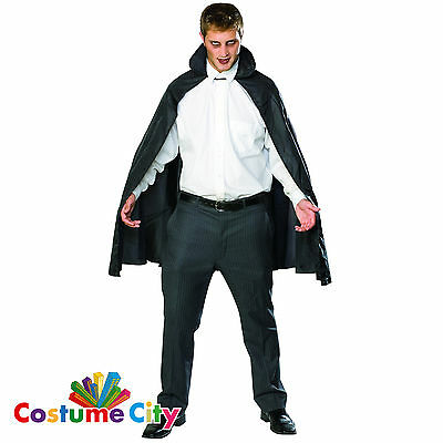 "Adults 45"" Black Taffeta Cape Halloween Fancy Dress Party Costume Accessory"