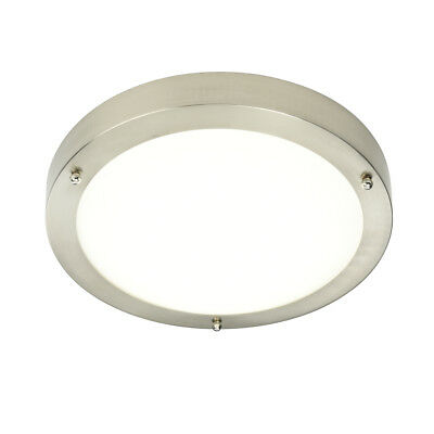 SAXBY PORTICO IP44 Flush Round Brushed Chrome LED Bathroom Ceiling Light 54675