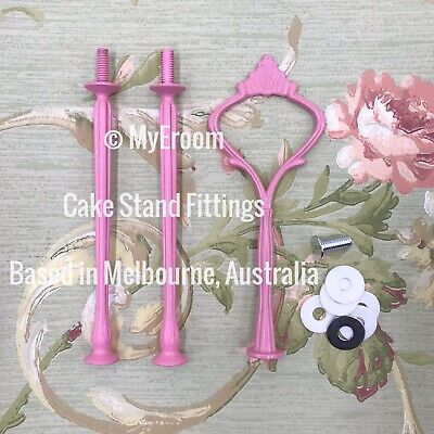 PINK HEAVY CROWN 3 tier Cake Stand Fitting Handle Shabby Vintage plate kit DIY