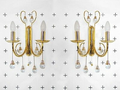 Gilt Brass and Crystal Balls Wall Scones by SCIOLARI, Italy 1960s