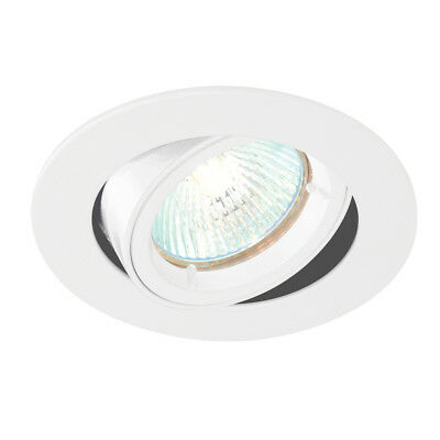 Saxby 52334 Cast Tilt Dimmable GU10 240V Recessed Gloss White Spot Downlight