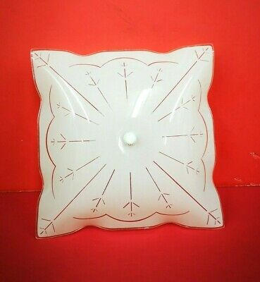 """1965 NEW VINTAGE White CEILING Square BEDROOM 2-Light Fixture 12"""" by Puritan"""