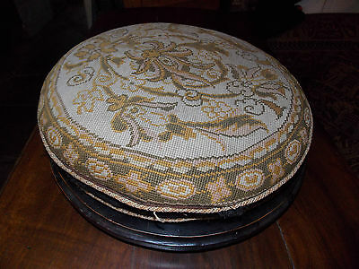 """Antique Victorian footstool tapestry cross stitch large round 15"""" ceramic feet"""