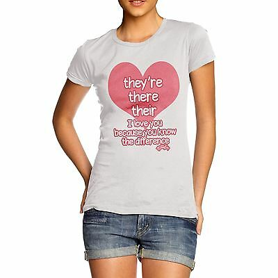 Twisted Envy Women's English Grammar They're There Their Heart T-Shirt