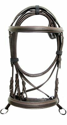 New Leather Cross Over Bitless Bridle with Reins Brown FULL/LARGE