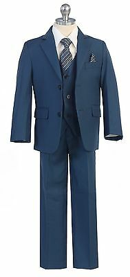 Boys Toddler Kid Teen 5-PC Wedding Formal Party Blue Suit Tuxedo w/ Vest sz 2-20