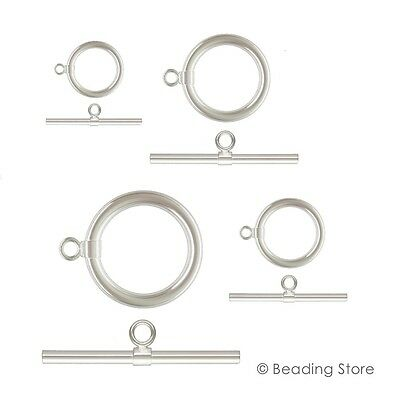 Various Sizes 925 Sterling Silver Toggle Clasps T Bar Round Rings Clasp