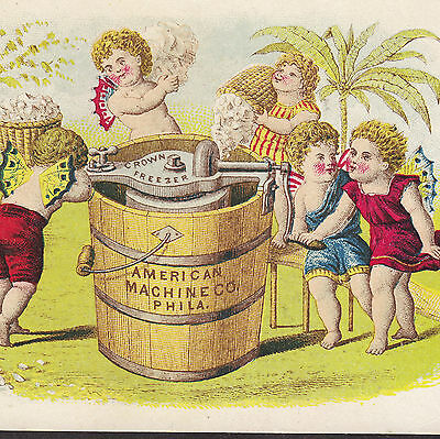 1870's Crown Ice Cream Maker Freezer American Machine Co Phila fairy Trade Card