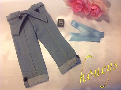 "For 15""-18"" Girl Dolls Clothes BEST LIGHT BLUE DENIM JEANS w/Ribbon and Phone"