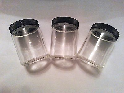 3 PACK of GLASS MEDICAL HERB STASH JARS ODOR PROOF AIR TIGHT with SCREW TYPE LID
