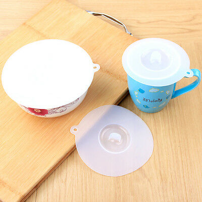 Silicone Storage White Plastic Replacement Lid Cover For Can Cup Bowl 3 Sizes EW