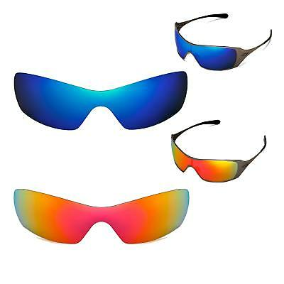 New Walleva Polarized Fire Red + Ice Blue Replacement Lenses For Oakley Dart