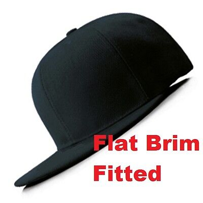 New Black QUALITY FITTED Flat Peak Brim Closed Back Plain Blank Cap Dancer Hat