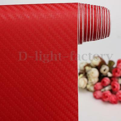 2m x 600mm 3D Carbon Fiber Vinyl Wrap Film Car/Home/Glass Bubble Free Red DIY