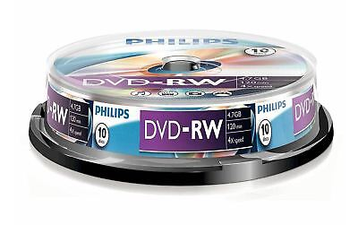 New Philips Dvd-Rw 120 Min Video 4.7Gb Data 4X Speed Blank Disc Spindle 10 Pack