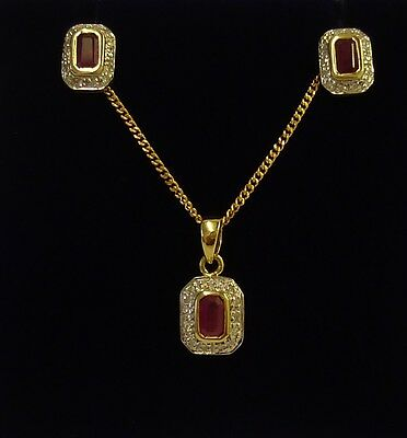 Ruby & Diamond Pendant / Chain With Matching Earrings In 9ct Yellow Gold (SET)