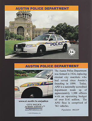 AUSTIN Texas POLICE DEPARTMENT Ford City Squad Patrol Car 2002 TRADING CARD