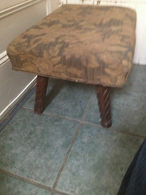 Antique Barley Twist Foot Stool Bench Seat Old Upholstery Victorian Parlor Walnu