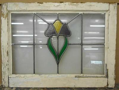 "OLD ENGLISH LEADED STAINED GLASS WINDOW Nice Floral Design 20.5"" x 16.75"""