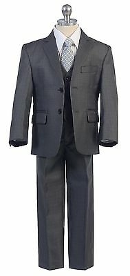 Blue Boys Toddler Kid Teen 5-PC Wedding Formal Party Suit Tuxedo w/ Vest sz 2-20
