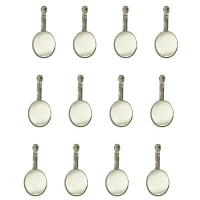 12pcs Silver Plated Earring Blanks with 18x13mm Oval Cabochon Bezel Setting