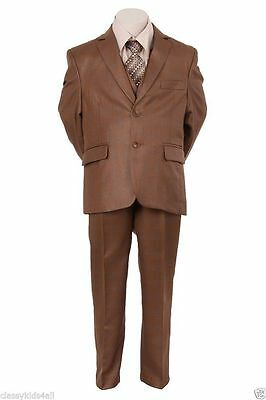 Bronze Boy's Toddler Kid Teen 5-PC Wedding Formal Party Suit Tuxedo Size 2-20