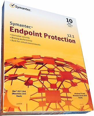 Symantec Endpoint Protection 12.1 Business Pack 10-User Windows & Mac Retail!!