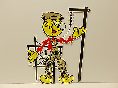 "Reddy Kilowatt Power Light Bulb Electric ""LINEMAN"" SIGN. ELECTRICIAN GIFT!"