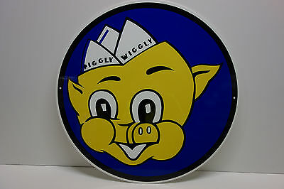 "LARGE Piggly Wiggly Sign Grocery Store Seed Feed Food Self Service 20"" diameter"