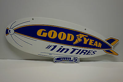 "LARGE 2 SIDED GOODYEAR BLIMP SIGN 10 1/2"" high by 28"" wide. AWESOME"