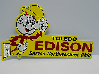 Reddy Kilowatt TOLEDO EDISON DIE CUT SIGN GREAT COLORS ELECTRICIAN GIFT SIGN