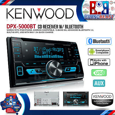 Kenwood Dpx-5000Bt Double Din Dual Bluetooth Cd Mp3 Aux Usb & Iphone Android