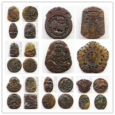 wholesale! Mixed Shape Carved Chinese Old Jade Pendant Bead YY-17