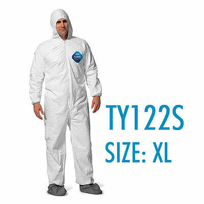Dupont Tyvek Coverall Bunny Suit with Hood and Boots Disposable - TY122S / XL