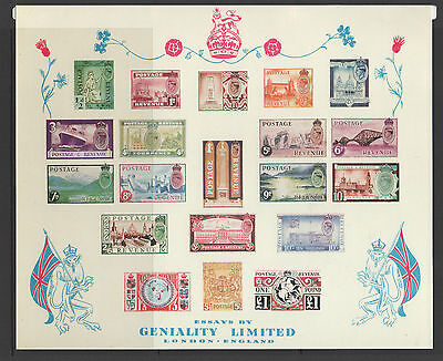 "Gb 1950 Gvi ""geniality"" Pictorial Essays Imperf Sheet Of 20 New Price"