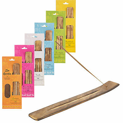 20 Wooden Incense Sticks & Holder Set Burner Ash Catcher Fragrance Scents Gift