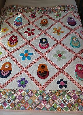 Quilt (Patchwork) Baby Blanket - Cute  Russian Dolls  WallHanging -  Throw