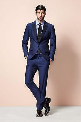 New Blue Men's Wedding Suits With Peak Lapel Custom Made Groom Party Tuxedos
