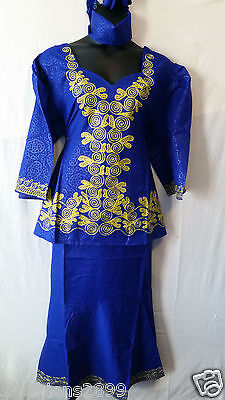 Women African Skirt Suit Attire Outfit Boho Dashiki Ethnic R Blue Free Size