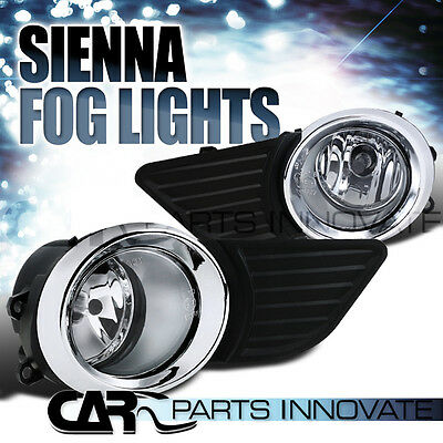 11-15 Toyota Sienna LE XLE Clear Fog Lights Bumper Driving Lamps+Bulbs+Switch