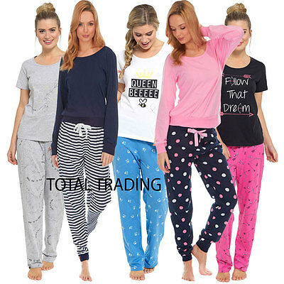 df2b11584a Ladies Womens Pyjamas pj Set Long Sleeve Top Nightwear LoungeWear pajamas  pyjama