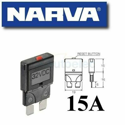 Narva Circuit Breaker Replaces Standard Blade Fuse Battery 15A Amp 12V 55715