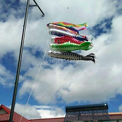 6pcs Rainbow Boys Day Windsock Carp Flag KoiNobori Wind Streamer Fish Decor 55cm