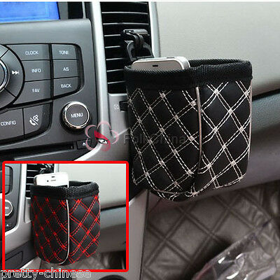 Auto Car Air Pocket Holder Storage Hanging Bag For Cup Pen Key Phone Two Colors