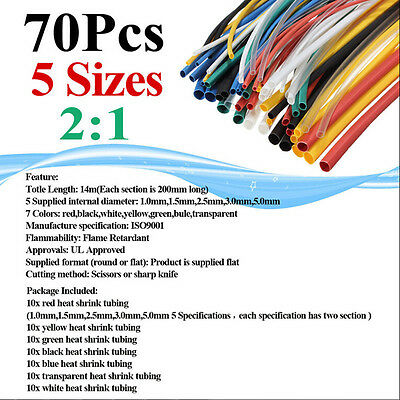 70Pcs Heat Shrink Tubing 5 Sizes Mix Color Tube Sleeving Wrap Wire Cable Pack
