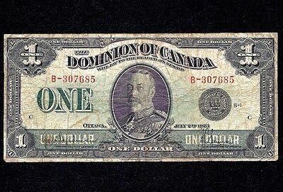 DOMINION OF CANADA $1 DOLLAR 1923 black   DC-25a  Grp 1
