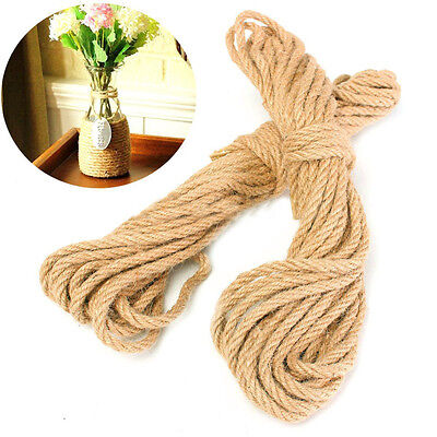 20M Twisted Burlap Jute Twine Rope Thick Natural Hemp Cord Sisal Rope 6mm