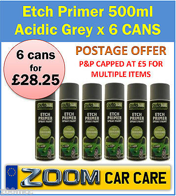 Etch Primer 500ml x 6 Cans Acidic Grey Etch Primer for bare metal etc